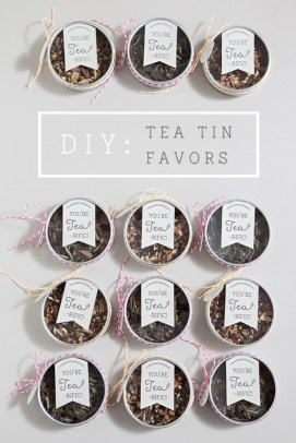 Image from - https://somethingturquoise.com/2014/08/05/diy-tea-tin-wedding-favors/